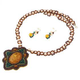 Set unicat din perle naturale, chihlimbar si cristale Swarovski