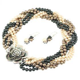 Set versatil din perle de Mallorca si camee de sidef