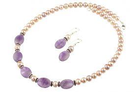 Set ametist, rhinestone si perle de cultura lila
