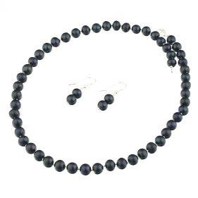 Set clasic din perle naturale  negre 8 - 9 mm si argint