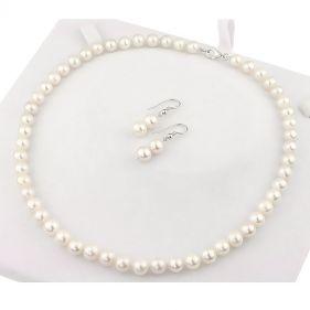 Set clasic din perle naturale albe 8 - 9 mm AA si argint