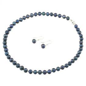 Set clasic din perle naturale negre 8 - 9 mm A si argint