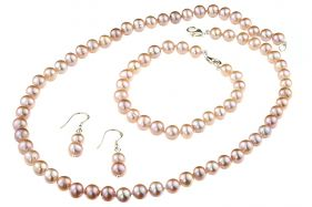 Set clasic perle naturale lila 7 - 8 mm A