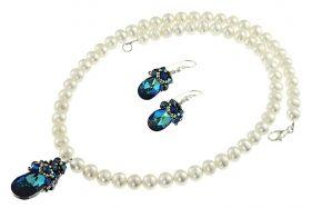 Set cristale Swarovski Bermuda Blue si perle de cultura