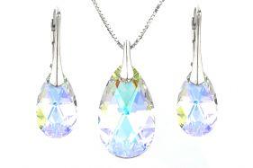 Set cristale Swarovski lacrima Aurora Borealis si argint
