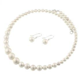 Set de perle de Mallorca albe si argint
