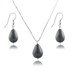 Set din argint cu perle de Mallorca gri inchis