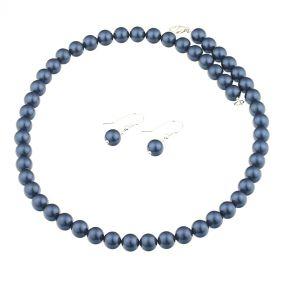 Set din perle de Mallorca albastre