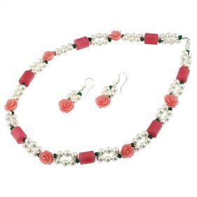 Set din perle de Mallorca, coral, jad si argint