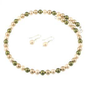 Set din perle de Mallorca multicolore si argint