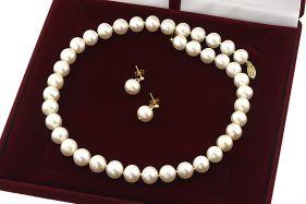Set exclusivist din perle naturale 9-10 mm AAAA si aur 14K