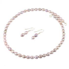 Set din perle naturale, lila