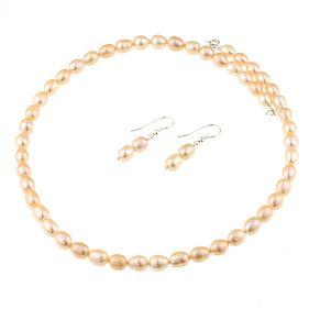 Set din perle naturale, piersica