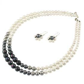 Set de perle de Mallorca, albe, negre, gri si argint