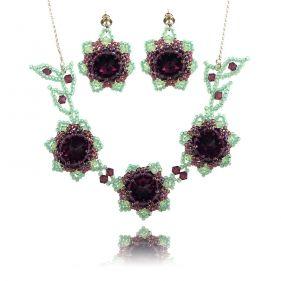 Set exclusivist cu flori din cristale Swarovski Amethyst si argint