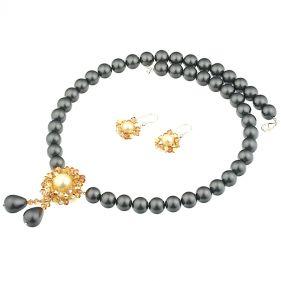 Set exclusivist din perle de Mallorca si cristale Swarovski Metallic Sunshine