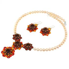 Set exclusivist din perle naturale si cristale Swarovski Fire Opal