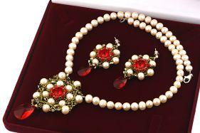 Set exclusivist din perle naturale si cristale Swarovski Light Siam