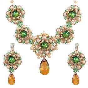 Set exclusivist din perle naturale si cristale Swarovski Scarabeus