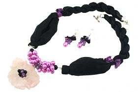 Set floare cuart roz, perle ciclam si matase naturala