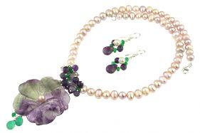 Set floare fluorina, ametist, jad si perle naturale