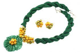 Set floare jad, perle galbene si matase naturala