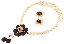 Set floare jad rosu si perle naturale