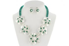 Set flori din cristale Swarovski, perle si sidef