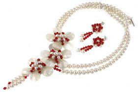Set flori din sidef, perle naturale si cristale Swarovski