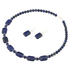 Set lapis lazuli, rhinestone si argint
