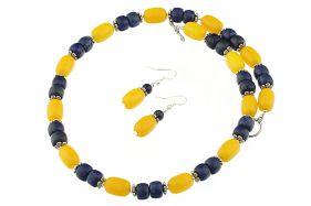 Set lapis lazuli si jad galben
