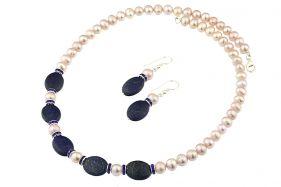 Set lapis lazuli si perle naturale lila