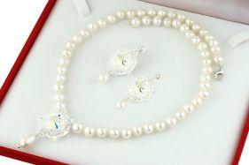 Set perle naturale si cristale Swarovski Crystal AB