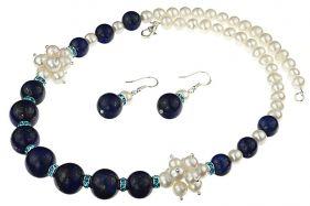 Set perle de cultura albe si lapis lazuli