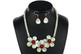 Set perle de cultura, flori sidef si coral