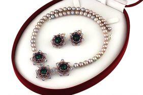 Set perle de cultura lila si cristale Swarovski