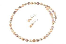 Set perle naturale ovale trei culori si argint