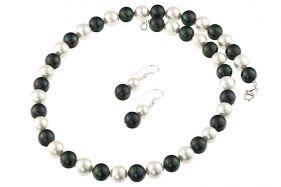 Set perle de Mallorca albe-negre si argint