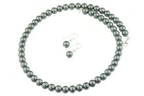 Set perle de Mallorca gri si argint