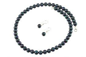 Set perle de Mallorca negre si argint