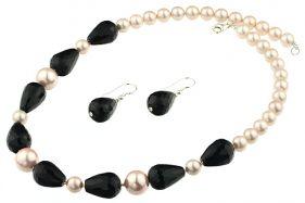 Set perle de Mallorca roz pal, onix si argint