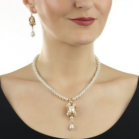 Set perle de Mallorca si cristale Swarovski Sunshine