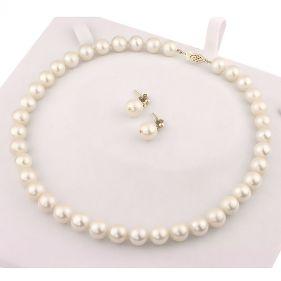 Set perle naturale albe 10 - 11 mm AAA si aur 14K