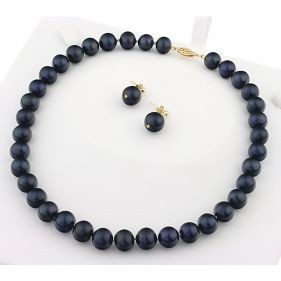 Set perle naturale negre 10 - 11 mm AAA si aur 14K