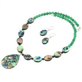 Set din sidef Paua, agat verde si argint