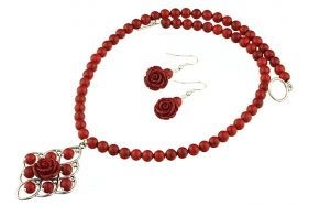 Set trandafiri coral rosu