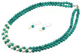 Set turcoaz si perle de cultura albe