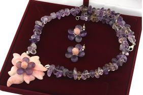 Set unicat cu floare din opal de Peru si ametrin