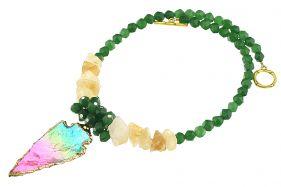 Colier din citrin, jad verde si cuart multicolor
