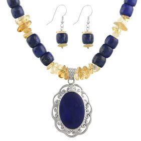 Set unicat din lapis lazuli, citrin si argint